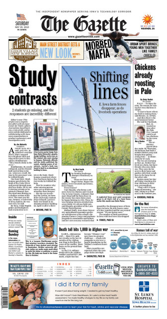 The Gazette front page, May 29, 2010, featuring Jim Malewitz's story about the disappearance of University of Iowa graduate student Jacques Similhomme.