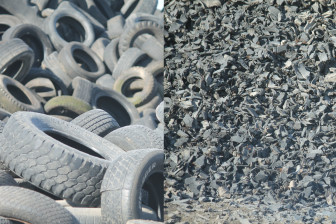(Left: Pile of tires in Scott Area Landfill recycling area / Right: Shredded tire) About 726 tons of tires are recycled every year in Scott Area Landfill. Shredded tire are not only used in the drainage layer of the landfill, but also used to make ground cover for playgrounds. (Sujin Kim/IowaWatch)