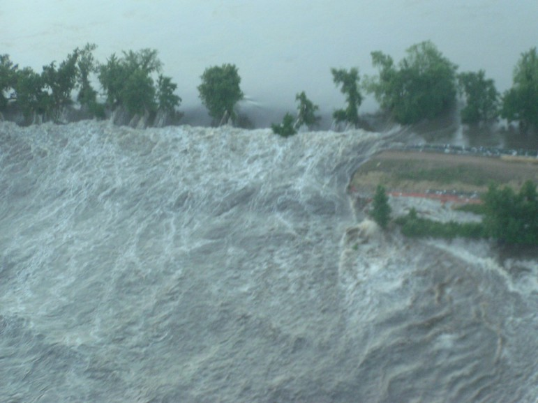 An arial view of the levee protecting the agricultural community of Oakville when it overtopped on June 14, 2008.