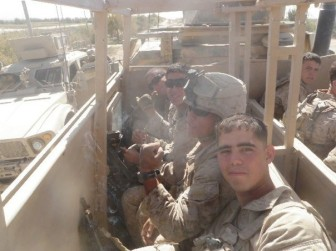Edwin Del Rio (front) is shown during his service in Afghanistan. After he came home, he filed a claim for post-traumatic stress disorder, knee pain and a foot injury.