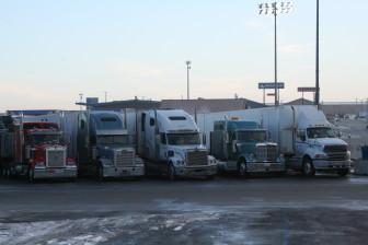Trucks park at a truck stop along Interstate-80 on Jan. 20, 2014. The highway is  a common route for trucks hauling hazardous materials.