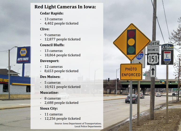The number of cameras is measured in approaches, which shows the number of lanes or directions monitored by a distinct camera unit. Often, one intersection can have more than one camera unit.