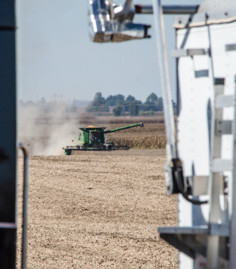 Soybean harvest just north of Mansfield, Ill., in early October 2013. The National Climate Assessment, released earlier in May, outlined how climate change will affect the $330 billion a year agriculture industry.
