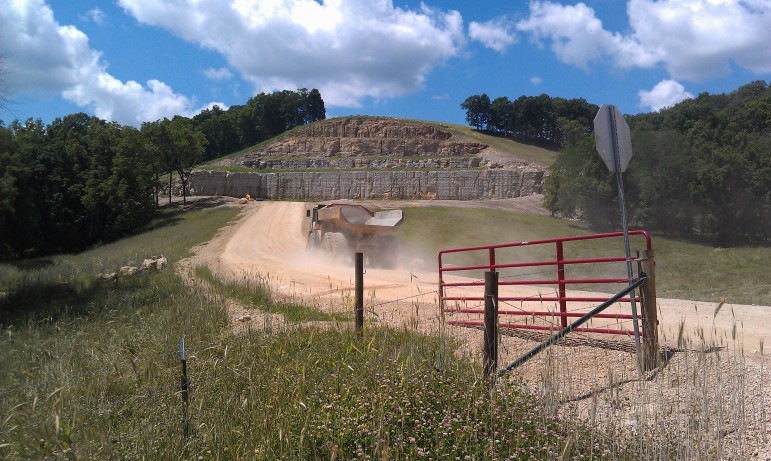 A truck enters a rural spot near Clayton, Iowa, on June 24, 2014, where Pattison Sand Company was preparing to open a new mine in the side of a hill.