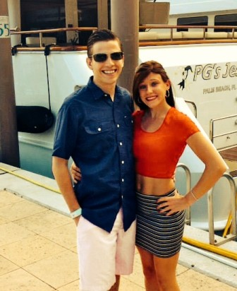 Taylor Goggin and boyfriend Jake Burke at Atlantis, in the Bahamas, where they went on vacation at the end of May 2014.