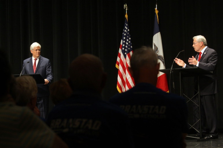 Iowa Gov. Terry Branstad, right, and Iowa Sen. Jack Hatch during their debate on economic development and job growth Saturday Sept. 20, 2014, at Edward Stone Middle School in Burlington, Iowa. The 2nd Iowa Gubernatorial Debate was sponsored by The Hawk Eye newspaper, KWQC TV and The Greater Burlington Partnership.