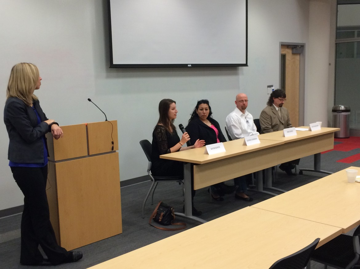 """A panel of experts on meth addiction listed as former IowaWatch reporter Katie Kuntz, now with Rocky Mountain PBS I-News in Denver, talks about what she learned when producing a documentary, """"Breaking the Cycle: Meth Addiction in the Heartland"""". Pictured are (left, standing) panel co-moderator Amalie Nash, executive editor and vice president for audience engagement at The Des Moines Register, and panelists (left to right from Kuntz) Glennis Guerrero of Council Bluffs, Powell Chemical Dependency Center counselor Mike Edens, and Jasper County Assistant Attorney Scott Nicholson."""