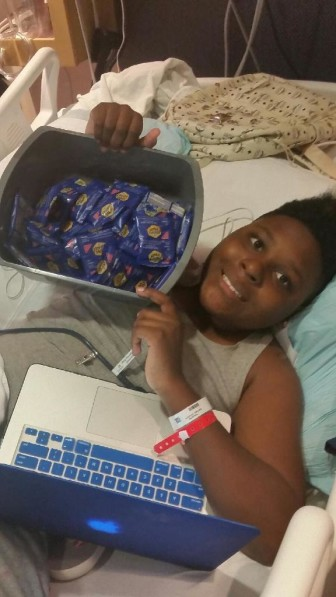 Isaiah Newsome, of Des Moines, at Blank Children's Hospital in December 2014.