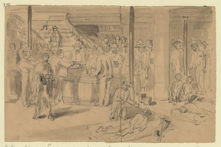 A drawing by William Waud showing exchanged prisoners on board the New York.