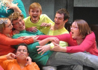 Jacob Amhof (top center in the yellow shirt) and his classmates in the variety play 'Fused & Fraid,' that the Buena Vista University students wrote and produced.