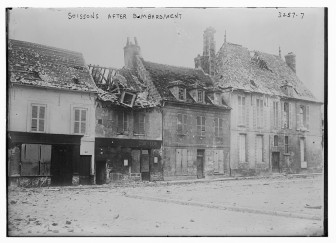 Buildings in Soissons, France after bombardment by German forces during World War I.