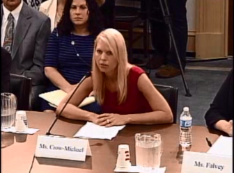Heidi Crow-Michael, whose son died in an ROV crash, testifying before Congress.