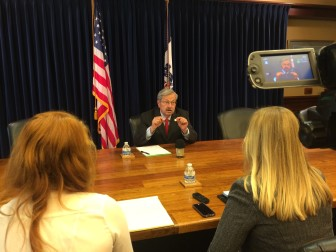 Iowa Gov. Terry Branstad in a July 7, 2015, interview with IowaWatch reporters Clare McCarthy and Makayla Tendall.