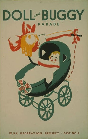 A poster for a doll and buggy parade from the Works Progress Administration's Federal Art Project in 1939.