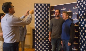 Sen. Rand Paul (R-Ky.) let people take pictures with him during his campaign swing through 11 Iowa college campuses Oct,. 12-14, 2015. He's show here at the University of Northern Iowa in Cedar Falls on Oct. 13.