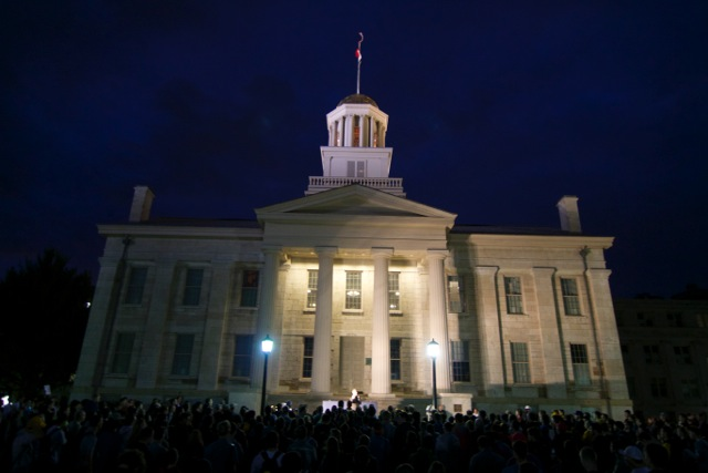 A crowd gathered in front of Old Capitol at the University of Iowa to hear presidential candidate Rand Paul speak on Oct. 12, 2015.