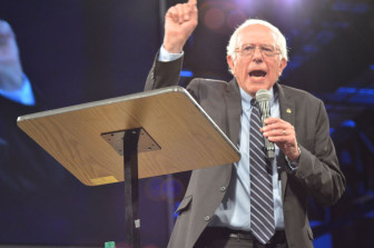 Vermont Sen. Bernie Sanders making a point at the Jefferson-Jackson Dinner in Des Moines on Oct. 24, 2015.