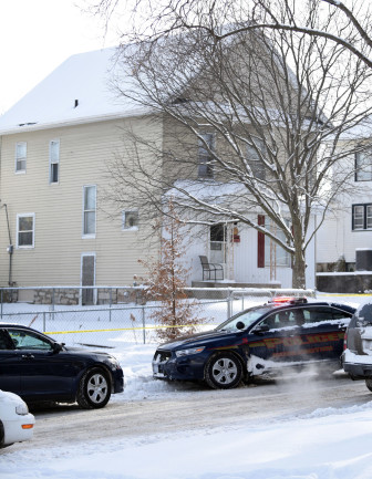Burlington Police Department in front of the home of Gabriel and Autumn Steele where, Autumn, was shot and killed by Burlington police officer Jesse Hill when answering a domestic disturbance call at 10:25 a.m. Tuesday Jan. 6, 2015 at 104 S. Garfield in Burlington, Iowa.