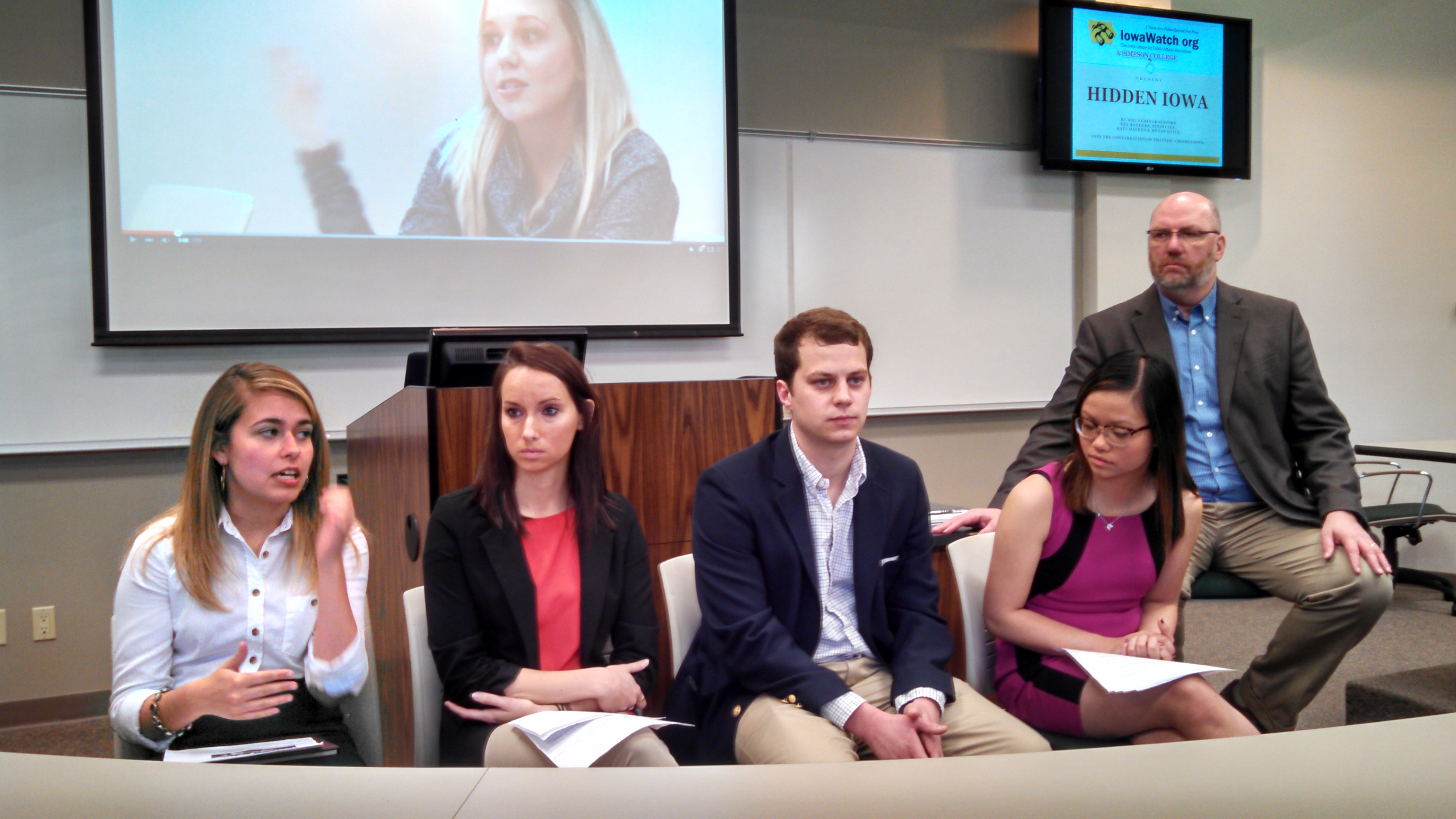 Journalism students at Simpson College produced an IowaWatch series on Hidden Illnesses on Campus and hosted a forum in Indianola in April.