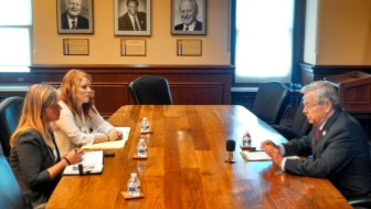 Iowa Gov. Terry Branstad in a July 7, 2015, interview with IowaWatch summer interns Clare McCarthy and Makayla Tendall.