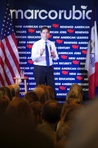 Republican presidential candidate Marco Rubio on the campaign trail during a University of Iowa visit on Dec. 10, 2015.