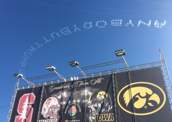 President-elect Donald Trump overcame massive attempts to defeat him, including this effort using five airplanes spelling out anti-Donald Trump messages during the Jan. 1, 2016, Rose Bowl parade before the annual Rose Bowl football game in Pasadena, California. Plenty of Iowans were at the parade because the University of Iowa football team played in the football game. CBS News and other outlets identified the man behind the messages as millionaire real estate developer Sam Pate of Alabama, a donor to Florida Sen. Marco Rubio's presidential campaign.