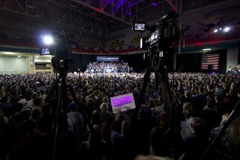 Democratic presidential candidate and Vermont Sen. Bernie Sanders fills the University of Iowa Field House to its 3,500 capacity as he speaks to supporters just 48 hours before the Iowa caucuses on Jan. 30, 2016.