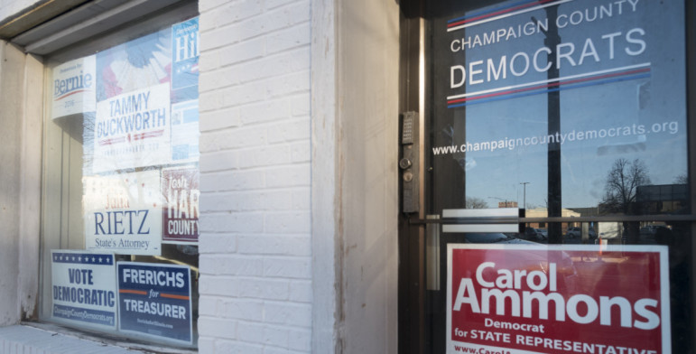 Local Democrat party headquarters in Champaign on Friday, January 29, 2016.