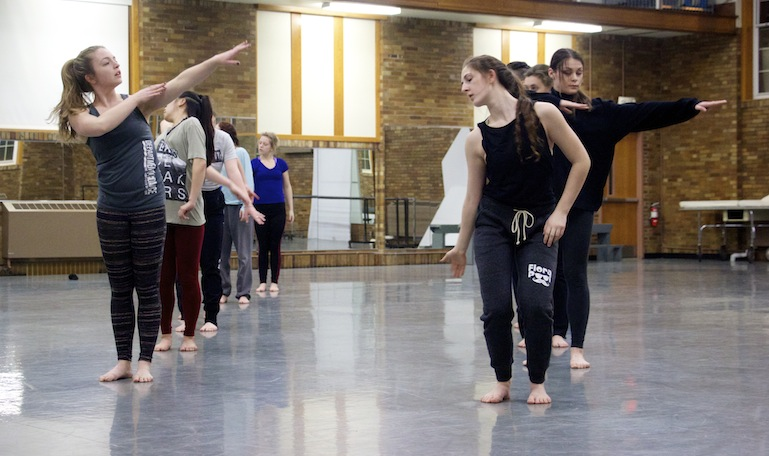 """Members of the 2016 University of Iowa Dancers in Company troupe rehearse """"Anatomy of a River,"""" one of six dances in the group's Water Works program, on Feb. 11."""