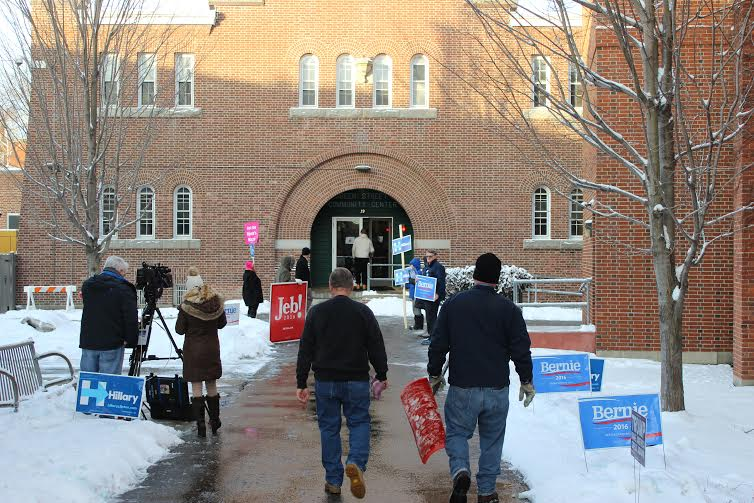 Voters had to shovel out before hitting the polls Tuesday, Feb. 9, 2016, in Concord, New Hampshire.