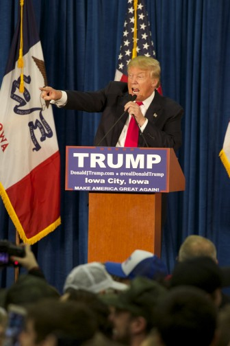 Republican presidential candidate Donald Trump at a Jan. 26, 2016, campaign stop at the University of Iowa in Iowa City.