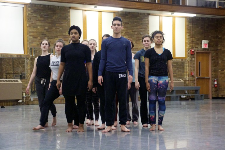 "Members of the 2016 University of Iowa Dancers in Company troupe rehearse ""Anatomy of a River,"" one of six dances in the group's Water Works program, on Feb. 11."