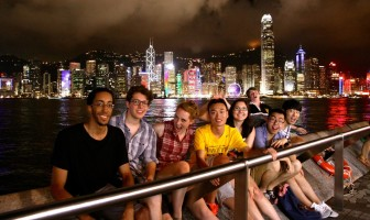 Mandy Gavin (the fourth person in from the right) went to see a light show with her friends in Hong Kong in summer 2015. They randomly asked someone who passed by to take this photo.