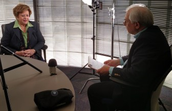 Jane Schorer Meisner, former Des Moines Register reporter, speaks with IowaWatch Executive Director-Editor Lyle Muller in March 2016 about a 1990 story about an Iowa rape that won The Register and Meisner a Pulitzer Prize for Public Service in 1991. The interview was part of IowaWatch's involvement in the Humanities Iowa observance of the Pulitzer's 100th anniversary.