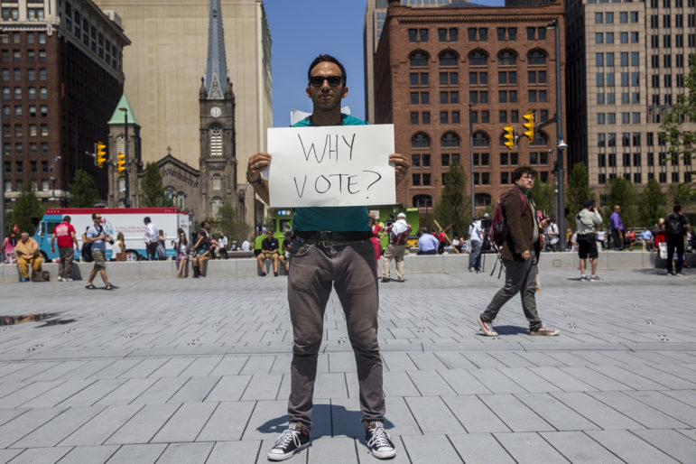 Oskar Mosco, 35, traveled from Santa Barbara, California, to protest in front of the Republican National Convention in Cleveland in July 2016. Protesters gathered in Public Square throughout the week. Mosco doesn't support Donald Trump or Hillary Clinton for president. He said both candidates do not represent what the majority of Americans want in a president. (Correction: The original News21 photo caption incorrectly spelled the first name of Oskar Mosco.)