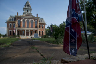 The Hancock County courthouse is in the county seat of Sparta, Georgia. Across from the courthouse a Confederate flag is wedged into the bricks of the Civil War memorial dedicated to those who served in the Confederacy. Sparta's population is nearly 80 percent black.