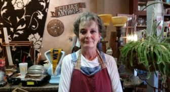 Celia Knoffloch, owner and manager of Celia's Antiques in Storm Lake, Iowa, at her store in early October 2016.