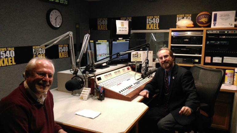 IowaWatch Executive Director-Editor Lyle Muller (left) and IowaWatch Connection program host Jeff Stein in the KXEL studio in Waterloo, Iowa, where the IowaWatch Connection is produced. Photo taken Dec. 28, 2016.